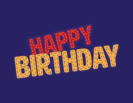 Red and Yellow Happy Birthday vector patch Illustration