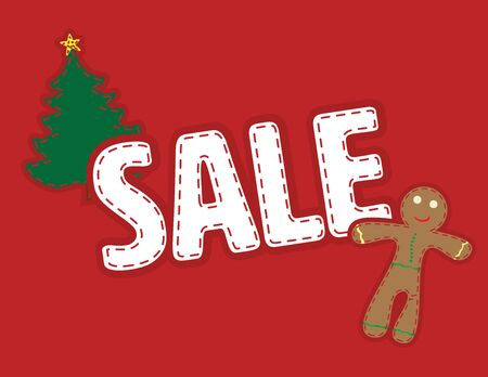 Red and White Christmas Sale banner Illustration