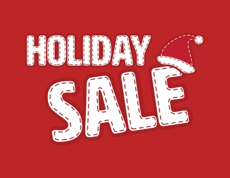 Red and White Holiday Sale banner Illustration