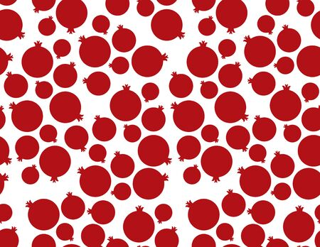 Red and White Pomegranate seamless pattern