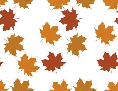 Vector Brown Maple Leaves Seamless Pattern on White Background
