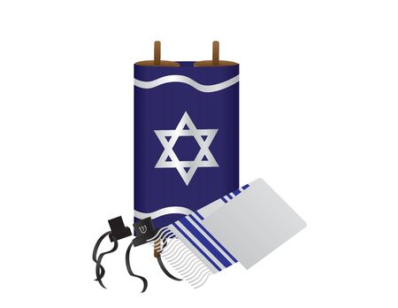 Torah, Tefillin and Tallit - Jewish Religious Symbols on White Background 矢量图像