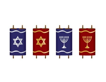 Set of Torah Scroll Vector Illustration with Blue and Red Covers