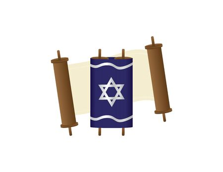 Open Torah Scroll and Close Torah scroll with Blue Cover on White Background