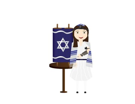 Jewish Girl Near Torah Scroll Illustration