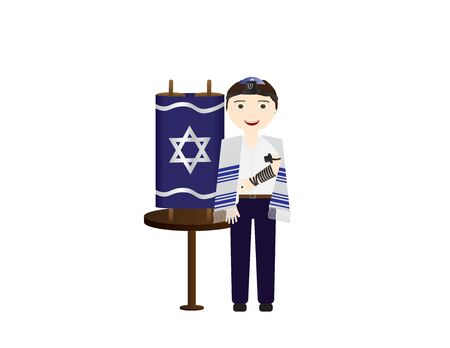 Jewish Boy Holding Torah Scroll