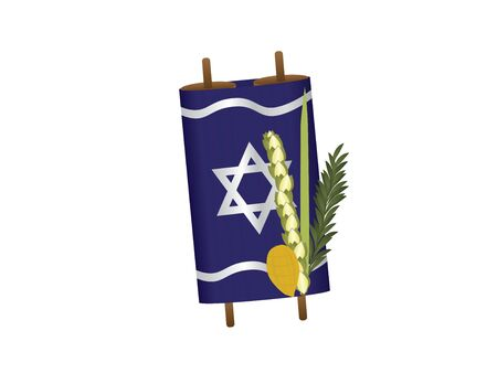 Torah Scroll and Sukkot Four Species Illustration