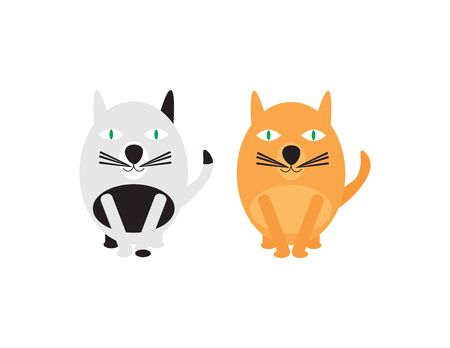 Two Vector Cats on White Background