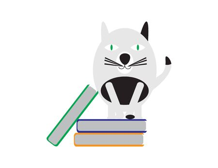 Black and White Cartoon Cat Standing on Books