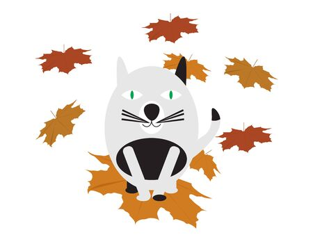 Cute Cats On Brown Fall Leaves Illustration