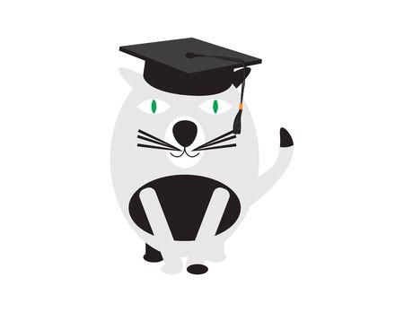 Black White Cat Wearing Graduation Hat Ilustração