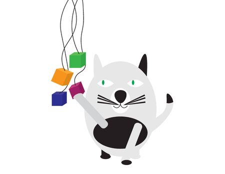 Black Whute Cat Playing With Colrful Cubes Illustration