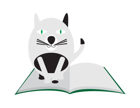Black and White Cartoon Cat Standing on Open Book