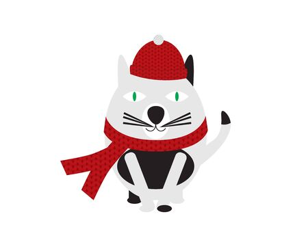 Black and White Cartoon Cat Wearing Knitted Hat and Scarf  イラスト・ベクター素材