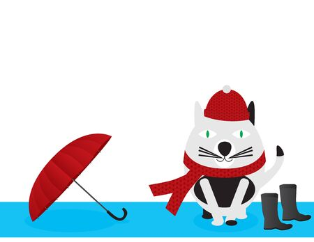 Black and White Cartoon Cat Wearing Knitted Hat and Scarf Near Umbrella and Boots Ilustração