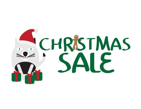 Christmas Sale Banner With Black and White Cat