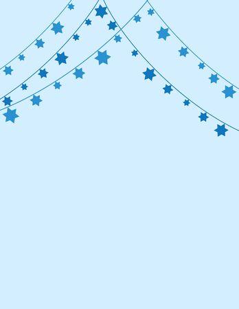 Blue Jewish Background with Jewish Star Bunting Decoration Illustration