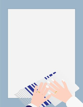 Jewish Wedding Template Background with Blue White Tallit and Two Hands