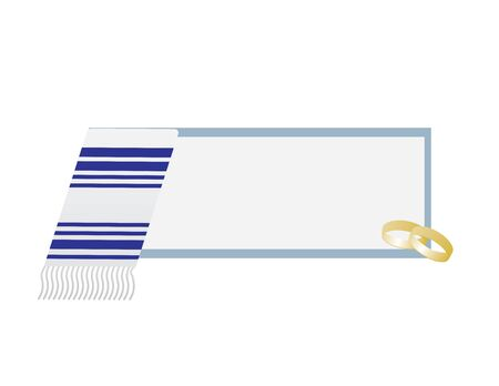 Jewish Wedding Banner with Blue White Tallit and Two Rings