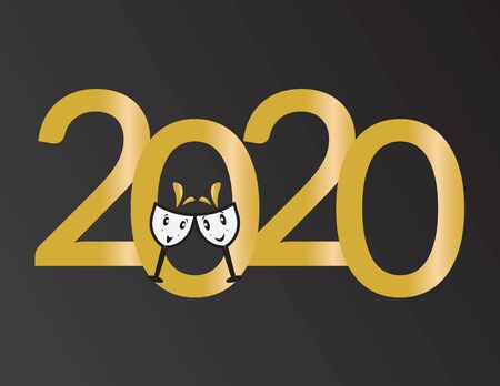 Two Champagne Wine Glasses and The Number 2020
