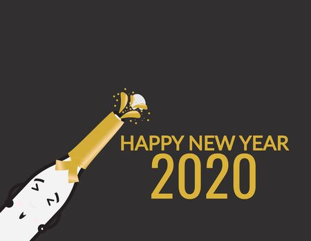 Cute Champagne Bottle And Happy New Year 2020