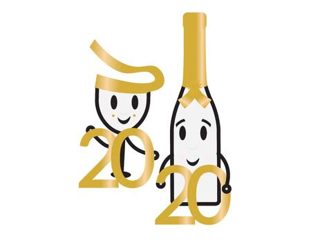 Cute Champagne Bottle and Glass Holding The Numbers 2020