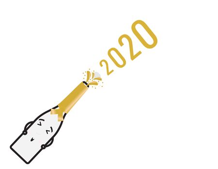 Cute Champagne Bottle And The Numbers 2020