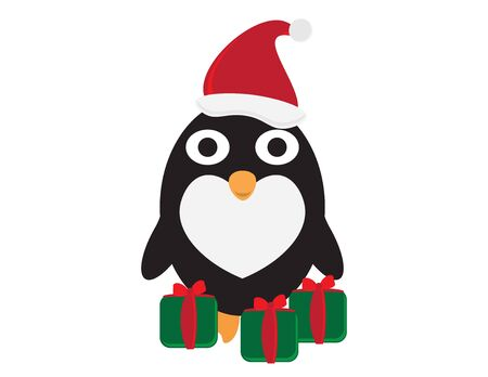 Cute Cartoon Penguin with Santa Hat and Green Red Gifts Illustration