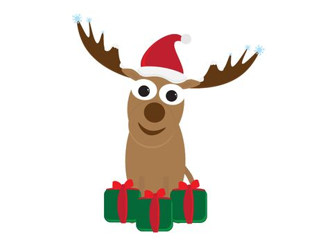 Cute Cartoon Deer with Santa Hat and Green Red Gifts Illustration