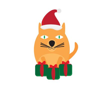 Cute Cartoon Cat with Santa Hat and Green Red Gifts