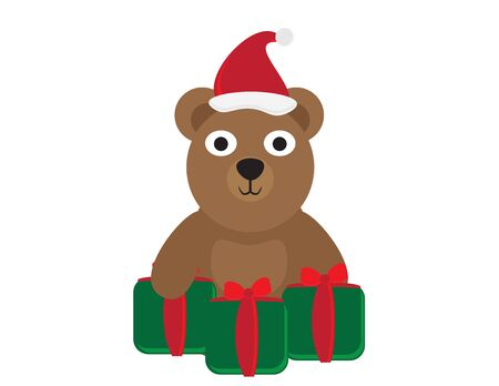 Cute Cartoon Bear with Santa Hat and Green Red Gifts