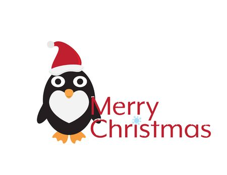 Merry Christmas with Cute Cartoon Penguin