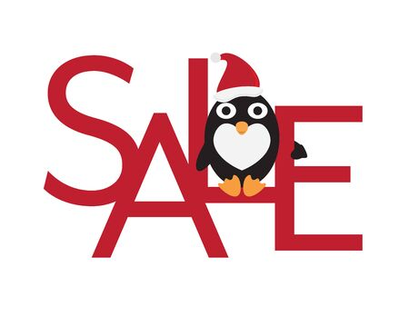 Christmas Sale - Cute Penguin with Santa Hat Sitting on Red Letters
