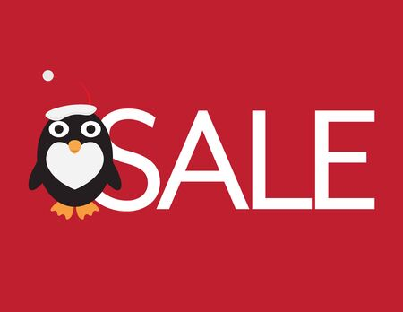 Christmas Sale - Cute Penguin with Santa Hat and White Letters on Red Background