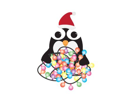 Cute Cartoon Penguin with Santa Hat and Colorful Light Bunting