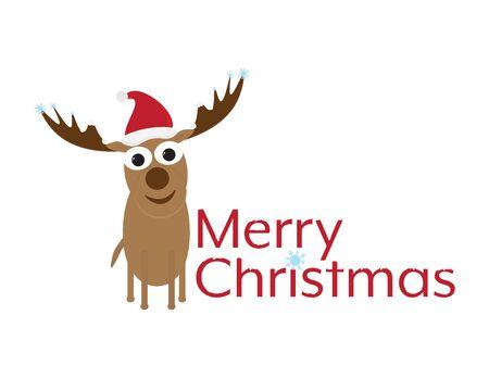 Merry Christmas with Cute Cartoon Deer