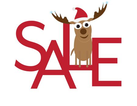 Christmas Sale - Cute Deer with Santa Hat Sitting on Red Letters Illustration