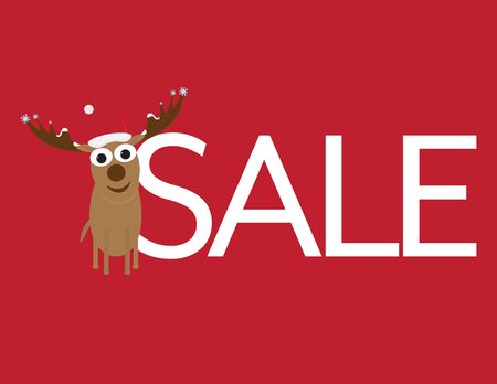 Christmas Sale - Cute Deer with Santa Hat and White Letters on Red Background