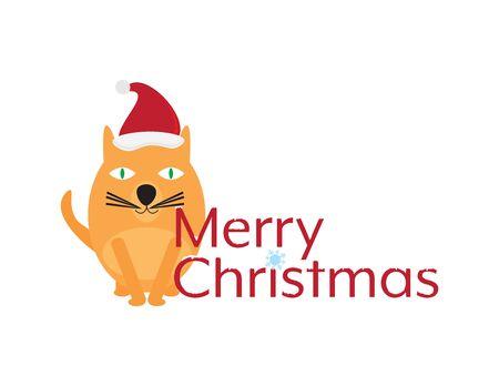 Merry Christmas with Cute Cartoon Cat Ilustração