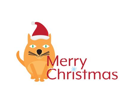 Merry Christmas with Cute Cartoon Cat Illustration