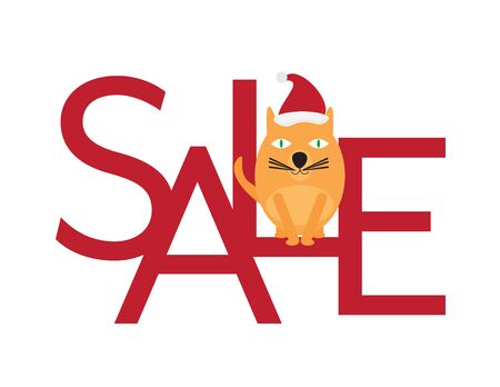 Christmas Sale - Cute Cat with Santa Hat Sitting on Red Letters