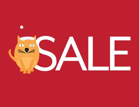 Christmas Sale - Cute Cat with Santa Hat and White Letters on Red Background