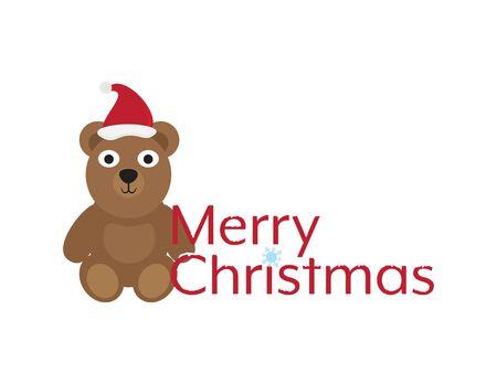 Merry Christmas with Cute Cartoon Bear Illustration