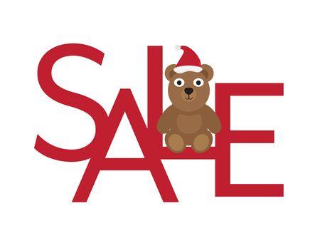 Christmas Sale - Cute Bear with Santa Hat Sitting on Red Letters Ilustração