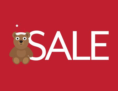 Christmas Sale - Cute Bear with Santa Hat and White Letters on Red Background Ilustração