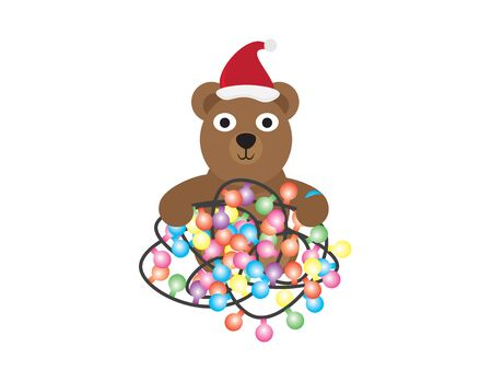Cute Cartoon Bear with Santa Hat and Colorful Light Bunting