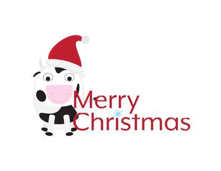 Merry Christmas with Cute Cartoon Cow