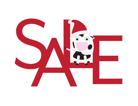 Christmas Sale - Cute Cow with Santa Hat Sitting on Red Letters