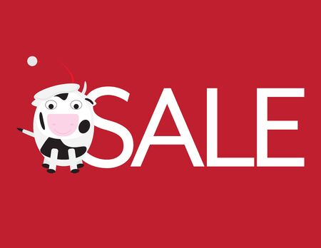 Christmas Sale - Cute Cow with Santa Hat and White Letters on Red Background