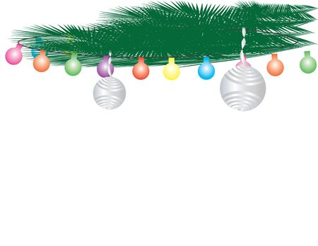 Green Leaves, Colorful Light Bunting and Silver Ornaments